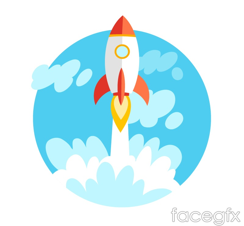 Cartoon rocket launch vector
