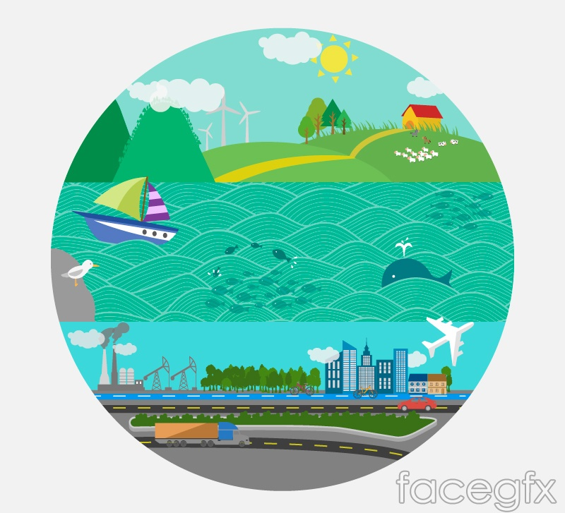 Cartoon round earth landscape vector