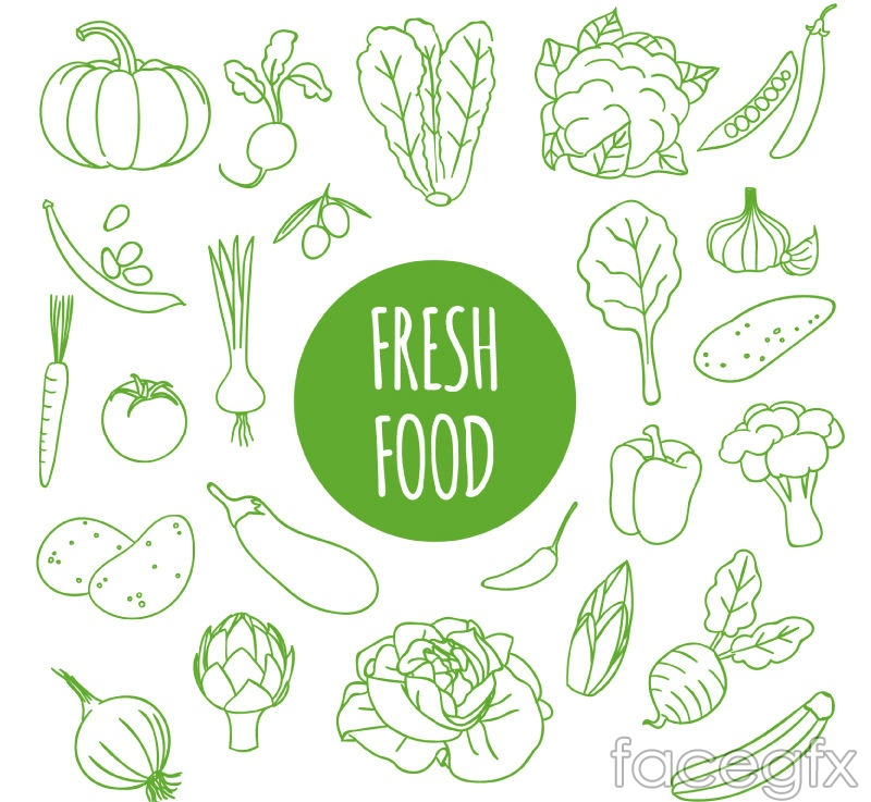 Fresh vegetable seamless vector background