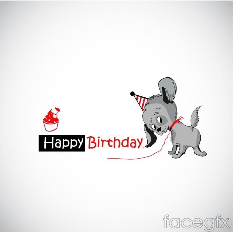 Grey dog birthday cards vector illustration