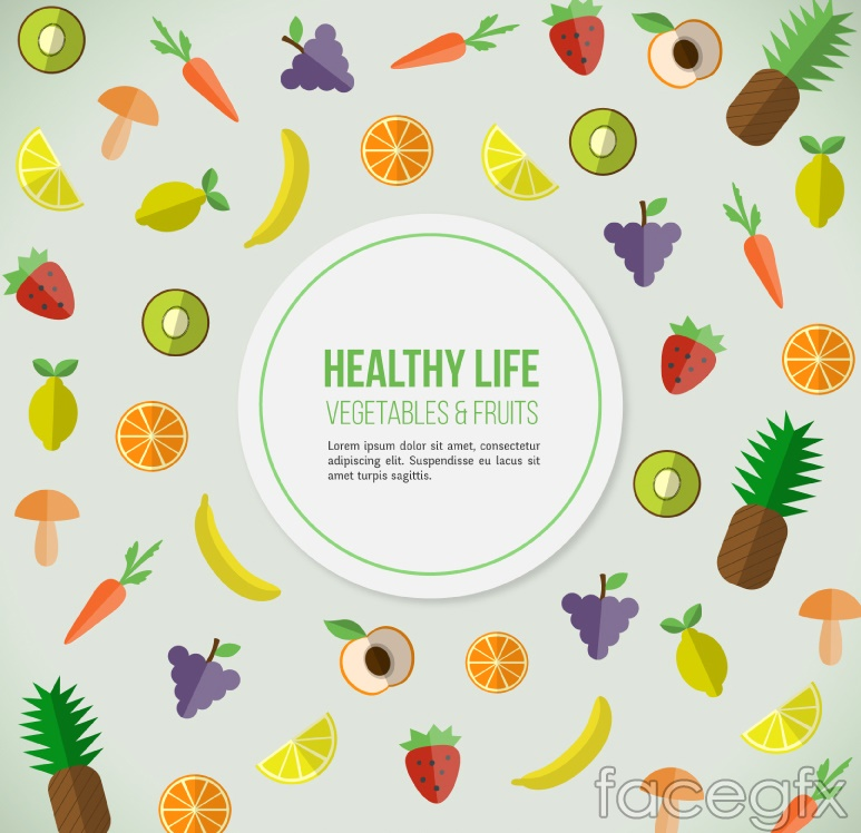 Healthy living food background arrow amount of vector