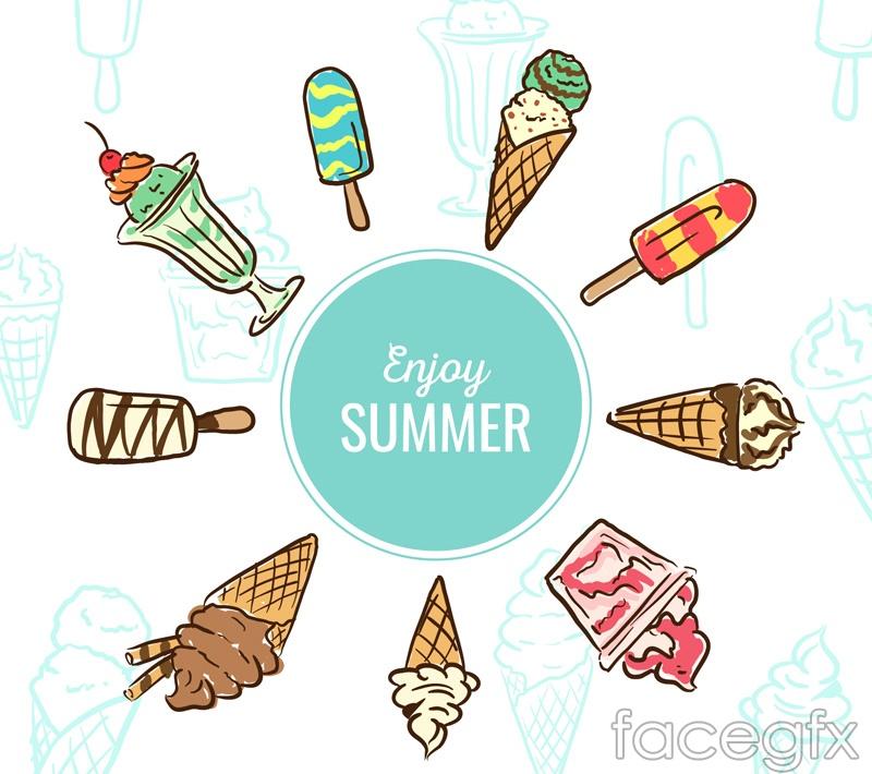 Painting summer ice-cream vector