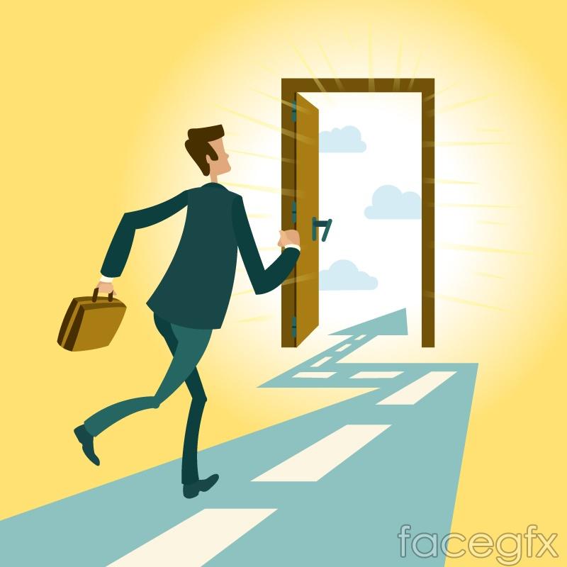 Run to the door of a business man vector graphics
