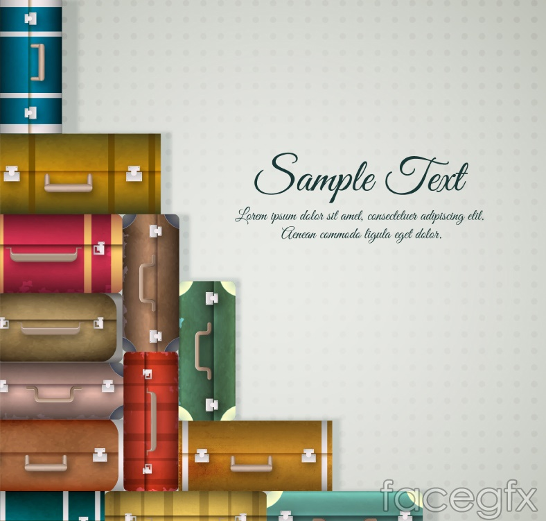 Stacked suitcases background vector