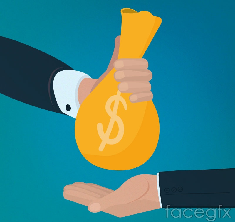 Submitting and accepting the money bag arm vector