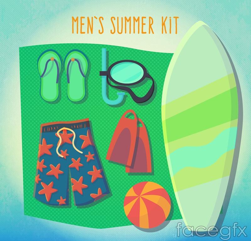 Summer men's swimming supplies vector
