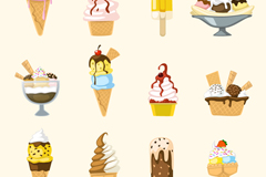 12 delicious ice cream, vector