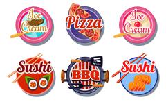 9 round gourmet food labels vector
