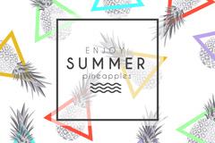 Summer pineapple seamless vector background illustration