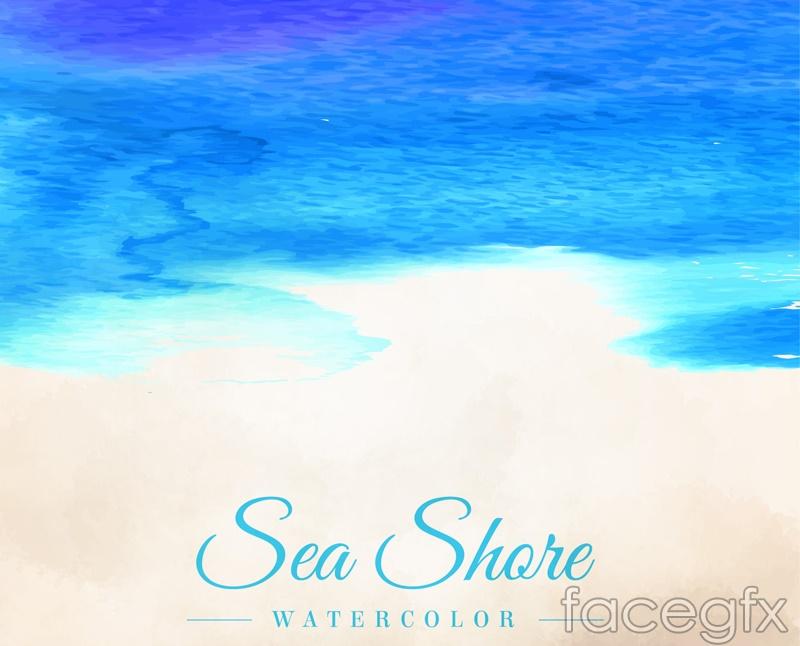 Water painting summer beach vector