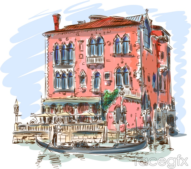 Water stained buildings of Venice and the ship vector
