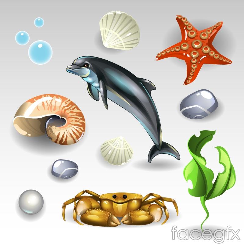 11 cartoon marine elements vector