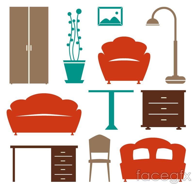 11 color furniture design vector graph
