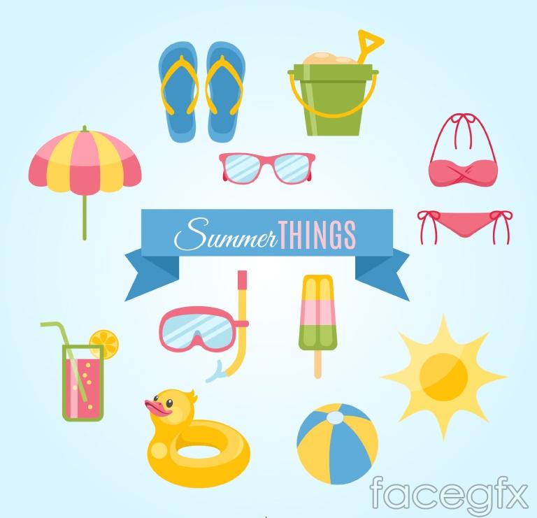 11 summer vacation cartoon element vector
