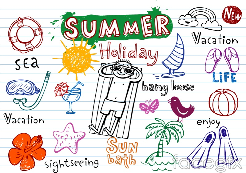 15 hand-painted summer element vector