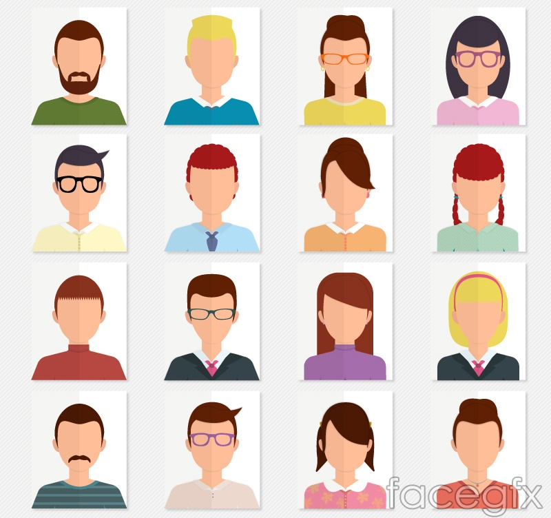 16-faced characters avatar vector illustration
