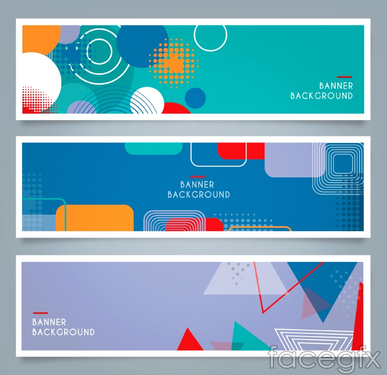 3 colorful geometric-shaped banner vector diagrams