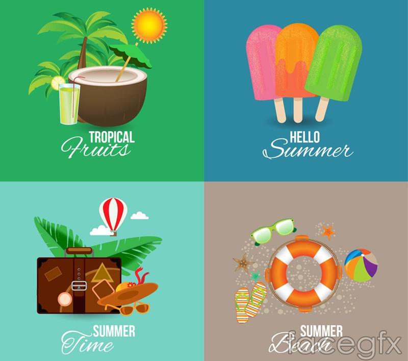4 color summer vector illustration
