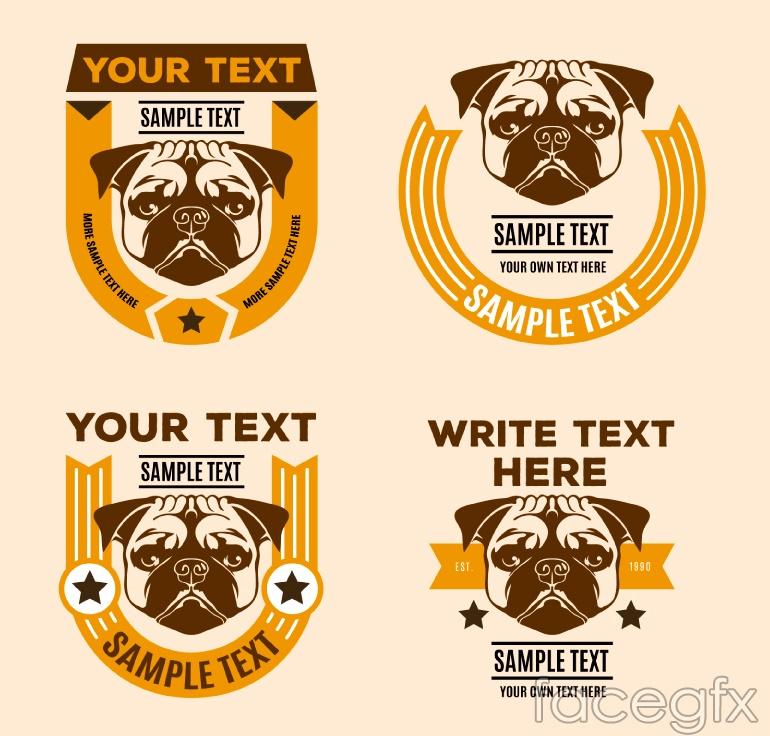 4 creative designer puggle dog tag vector