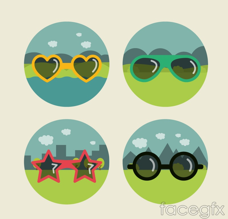 4 fashionable glasses and view vector