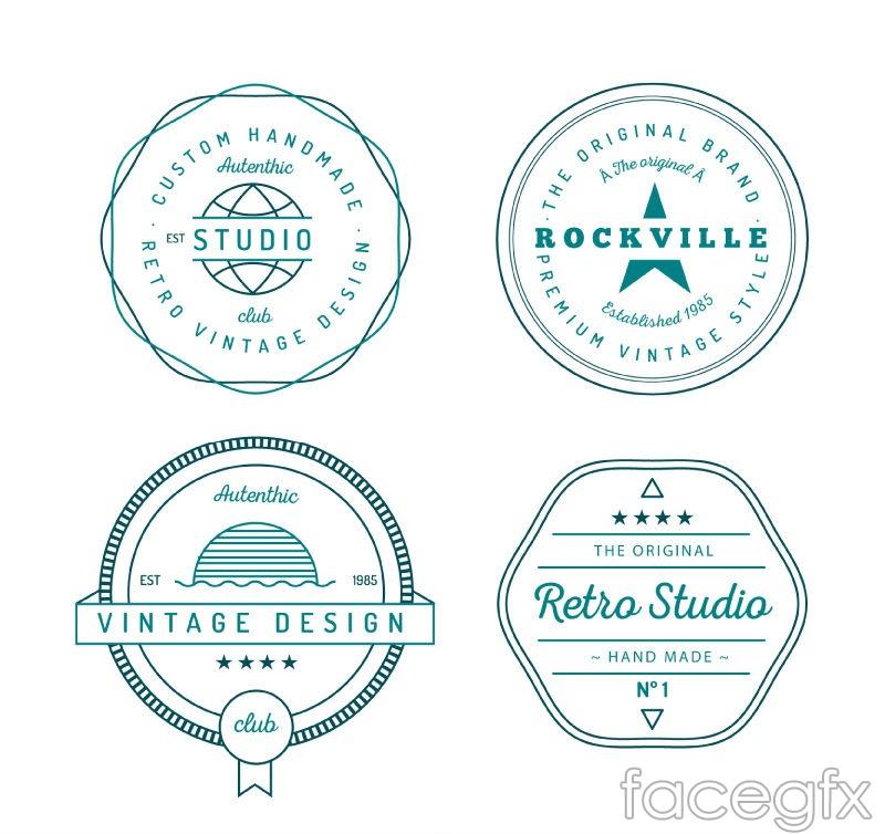 4 green artifact labels vector