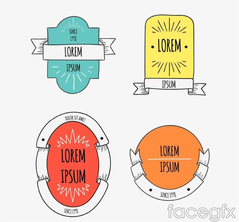 4 hand-painted Ribbon label vector diagrams