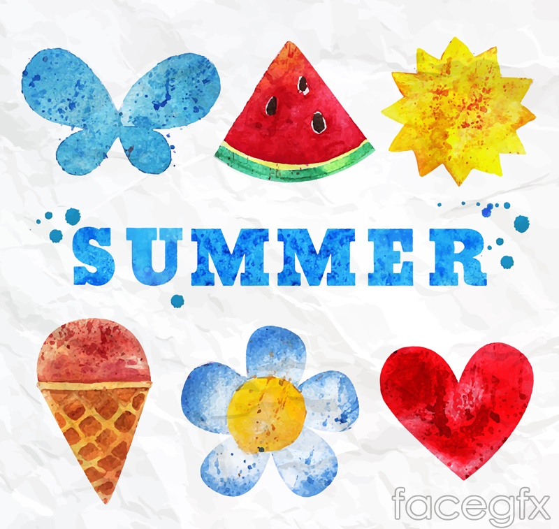 6 watercolor summer element vector