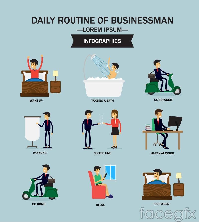 Cartoon business man day vector