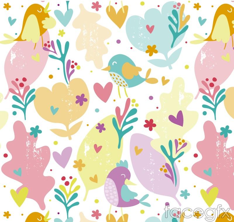 Cartoon flowers and birds seamless vector background illustration