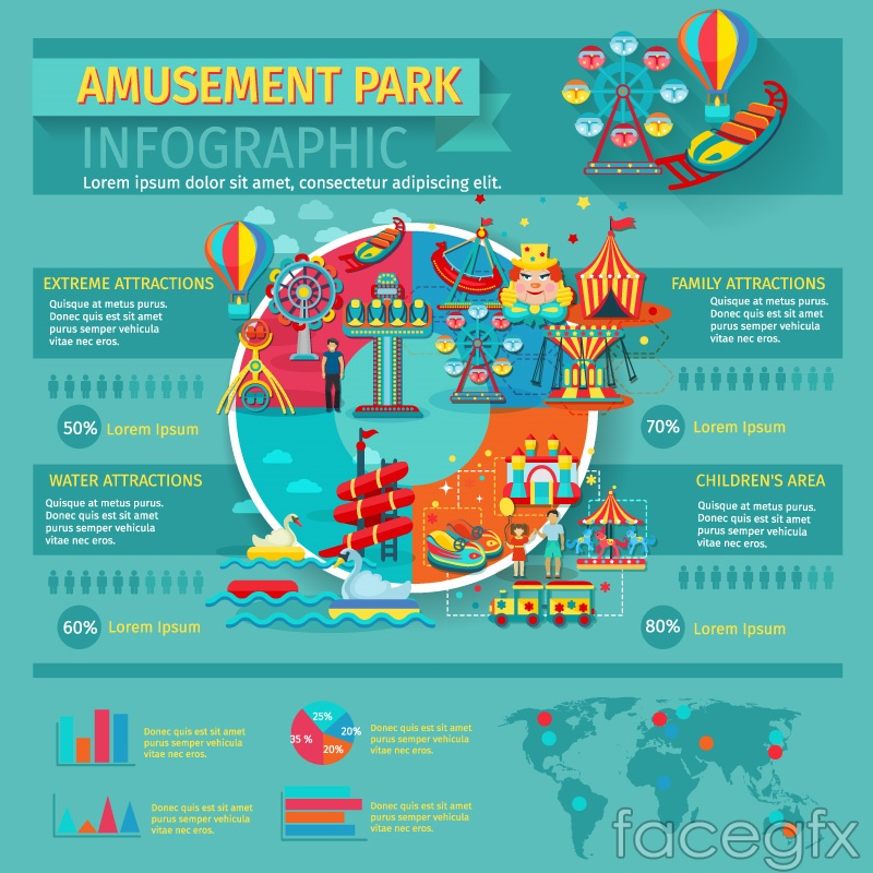 Figure cartoon amusement park information vector