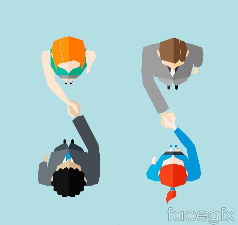 Handshake characters top vector