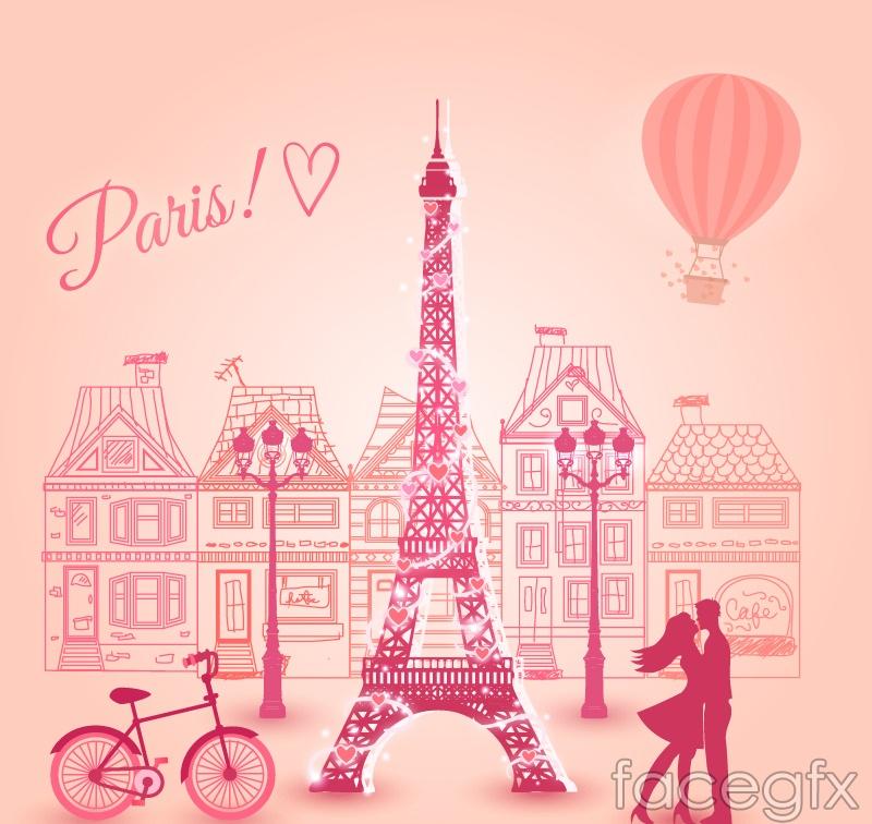Paris romantic pink vector illustration