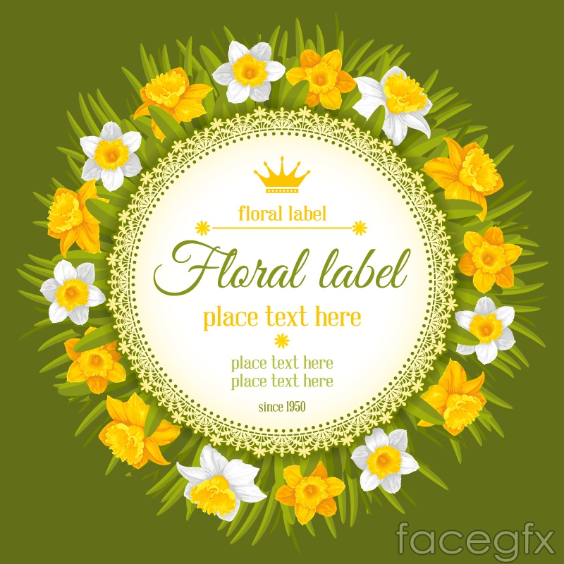 Round the daffodils tag vector