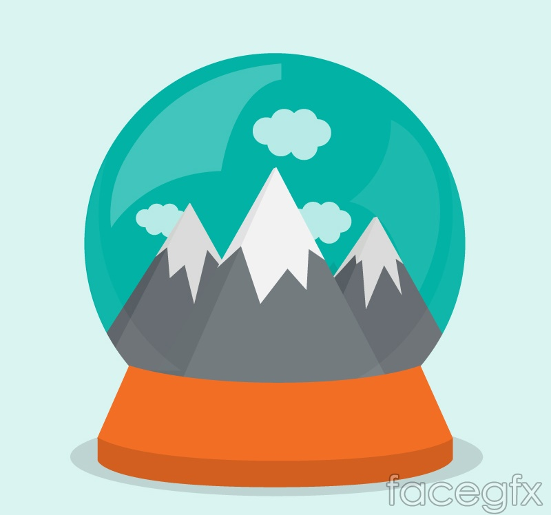 Snow Mountain scenic glass balls vector