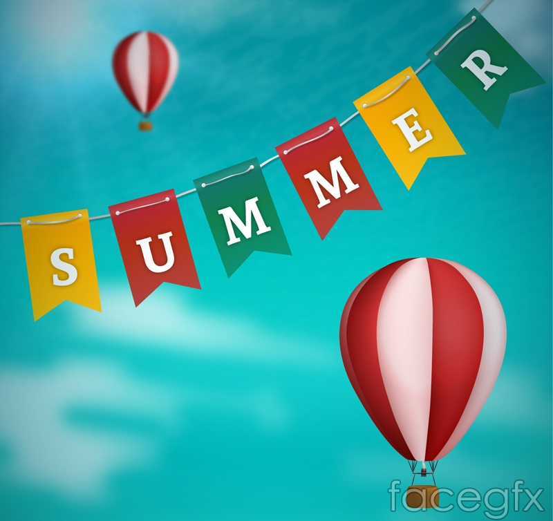 Summer flags and balloons vector