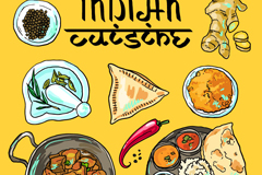 Delicious India cuisine vector illustration