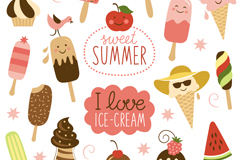 Variety of summer ice cream seamless vector background illustration