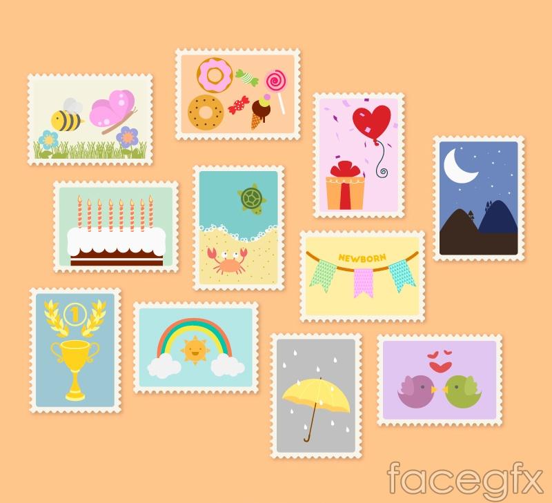 11 children's stamp design vector