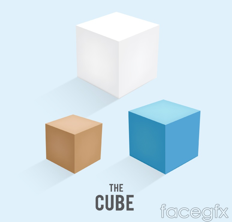 3 color cube vector
