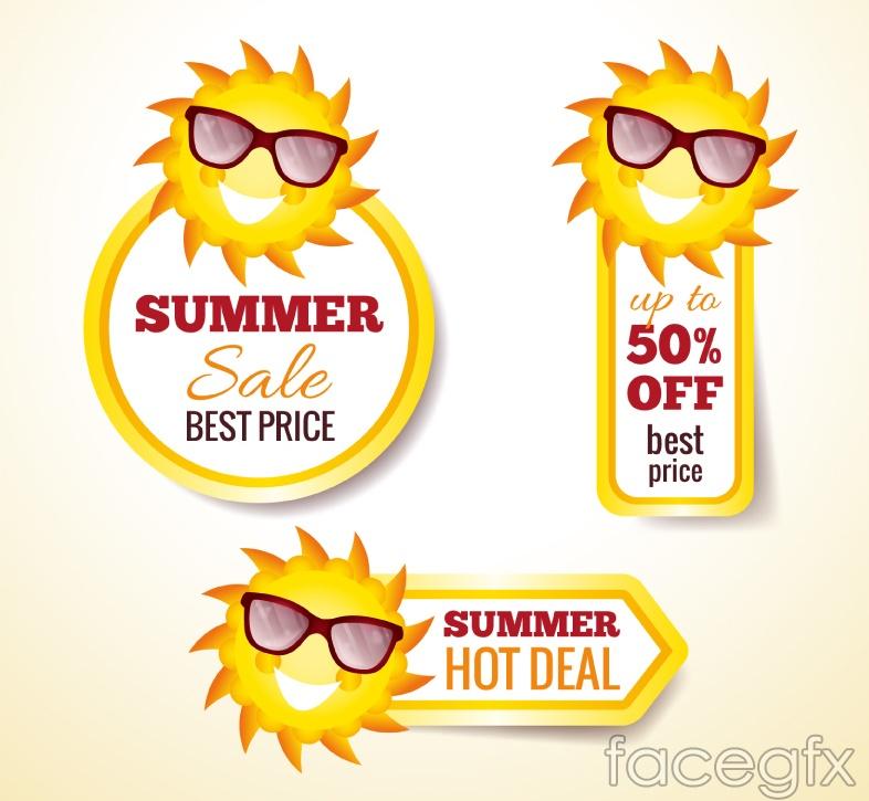 3 summer discount tag vector