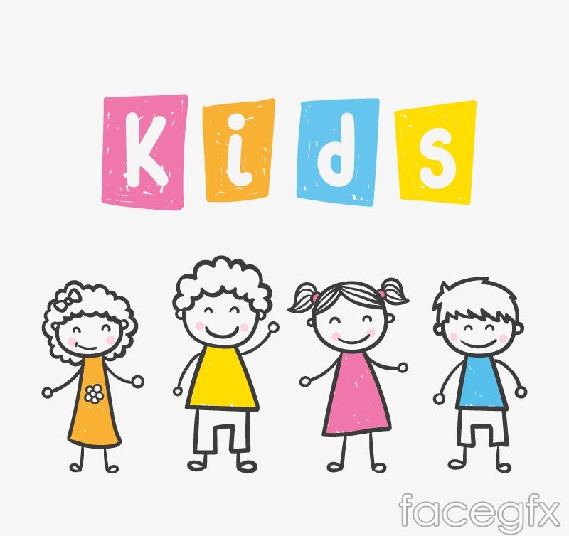 4 painted children vector