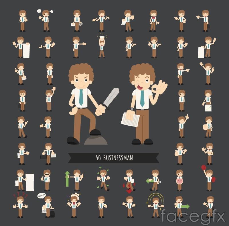 50 business men cartoon vector