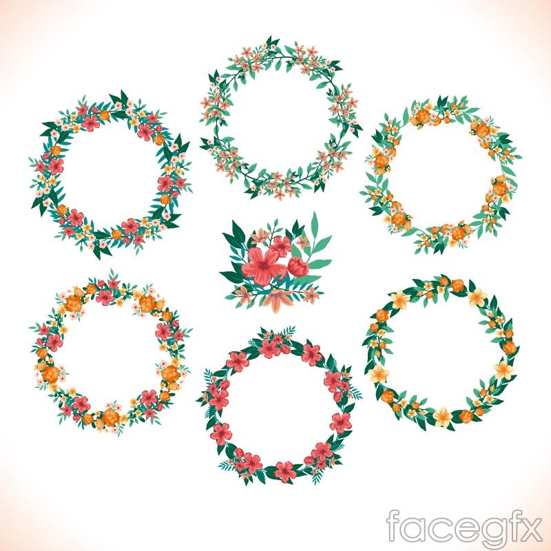 6 watercolor wreath design vector graph