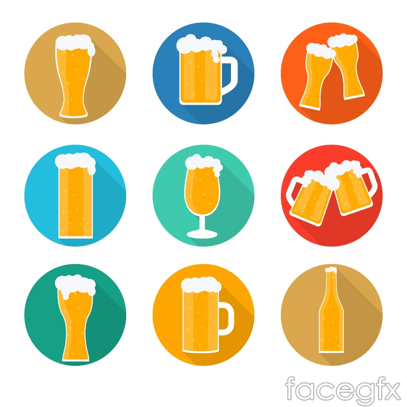 9 delicious beer icons vector