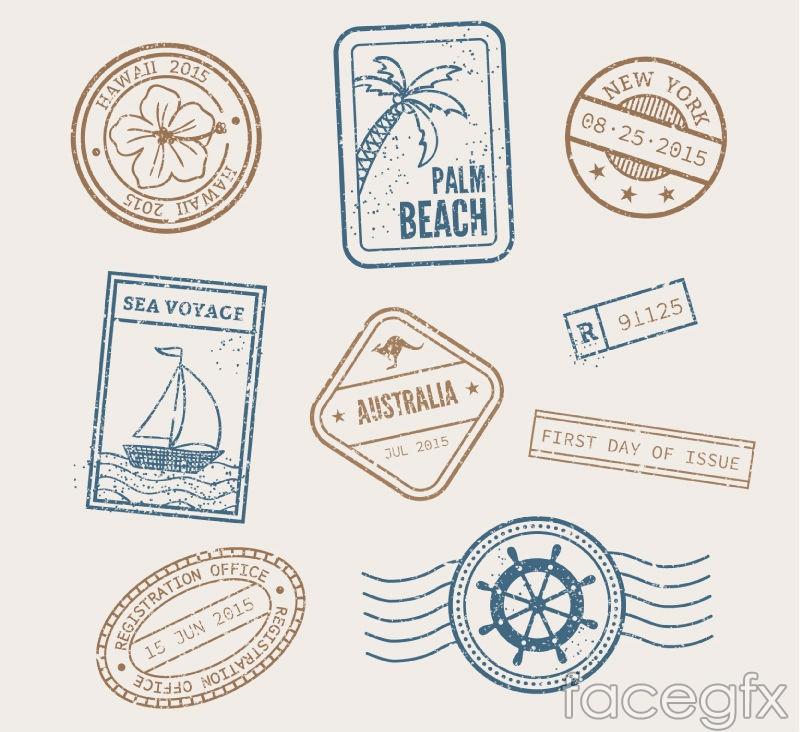 9 holiday postmark vector