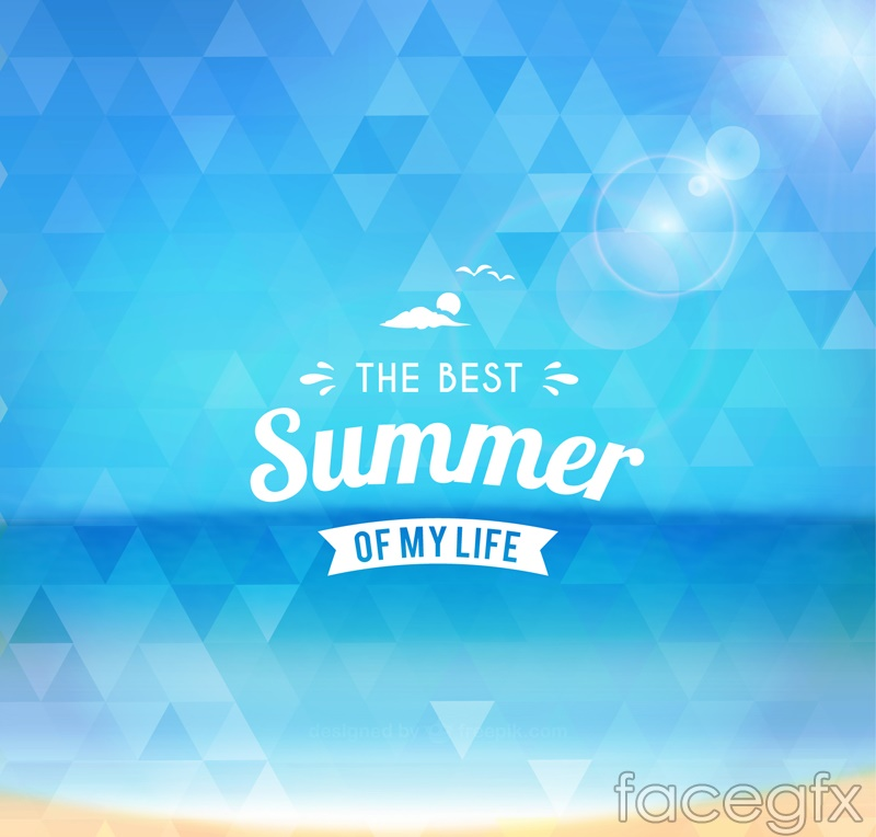 Blue triangle mosaic poster summer vector