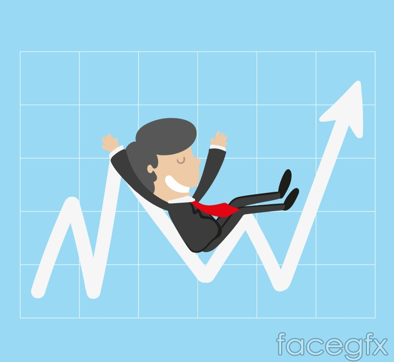 Business man on the curved arrow vector graphics
