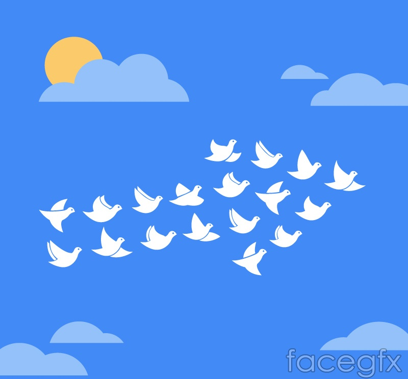 Dove under the blue sky group vector