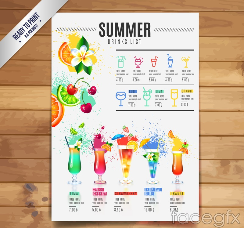 Summer party cocktail drinks vector graphics