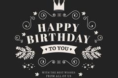 Simple word art birthday card vector